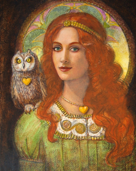 Wise Ones- Celtic Owl and Lady Painting by Sue Halstenberg - Wise ...