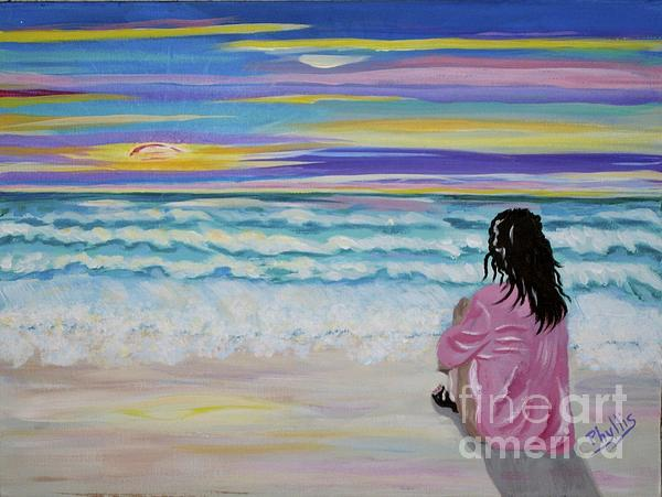 Woman By The Sea Print by Phyllis Kaltenbach