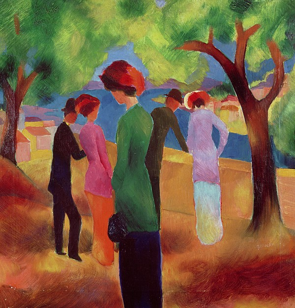 Woman In A Green Jacket Print by August Macke
