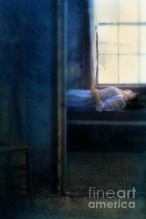 Woman In Nightgown In Bed By Window Print by Jill Battaglia