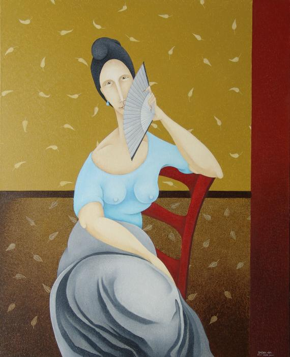 S A C H A -  Circulism Technique - Woman in Red Chair with Grey Fan  2009