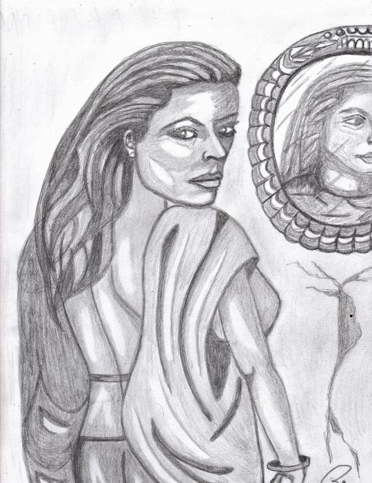 Woman In The Mirror Print by Richard Heyman