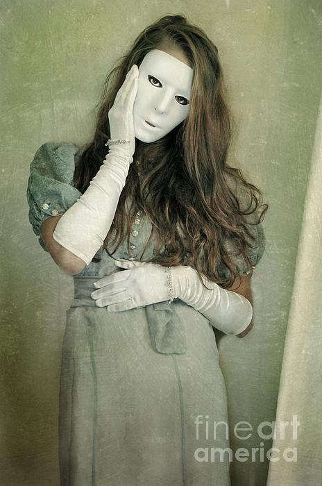 Woman In White Mask Wearing 1930s Dress Print by Jill Battaglia