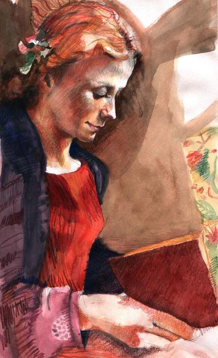 Woman Reading Print by Ellen Dreibelbis