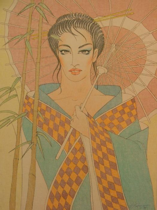 Woman under the bamboo umbrella Painting