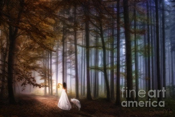 Shawna Mac - Woman Walking With The Wolf in the Woods