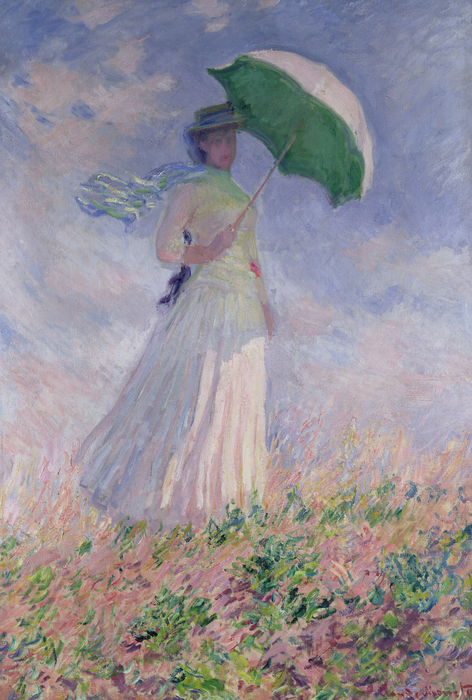 Woman With A Parasol Turned To The Right Print by Claude Monet