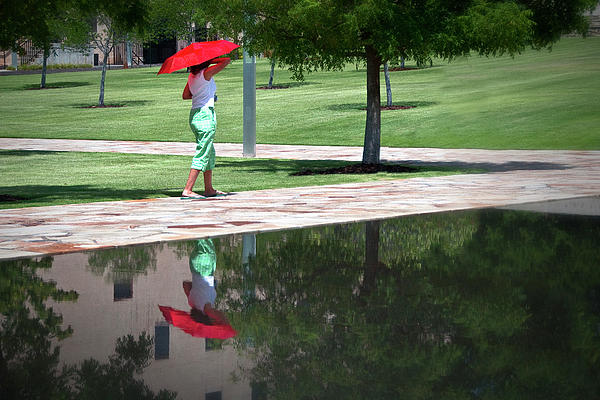 Woman With The Red Umbrella Print by Tamyra Ayles