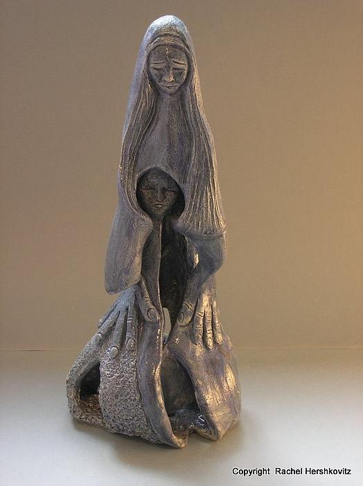 Womb Ceramics Sculpture  In Grey Woman And Child In Her Womb Large Hands Long Hair   Print by Rachel Hershkovitz