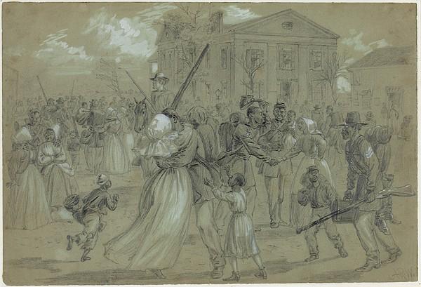 Women And Children Greet Their Loved Print by Everett