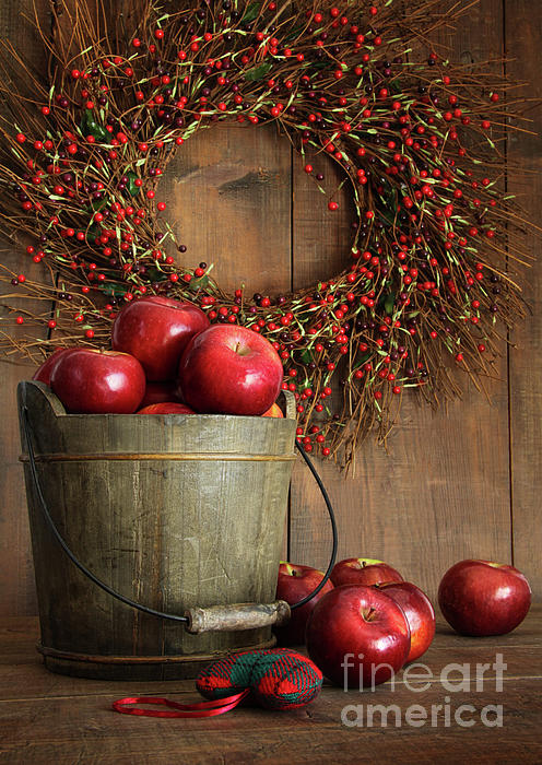 Wood Bucket Of Apples For The Holidays Print by Sandra Cunningham