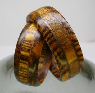 Wooden Ring Bocote And Walnut Jewelry