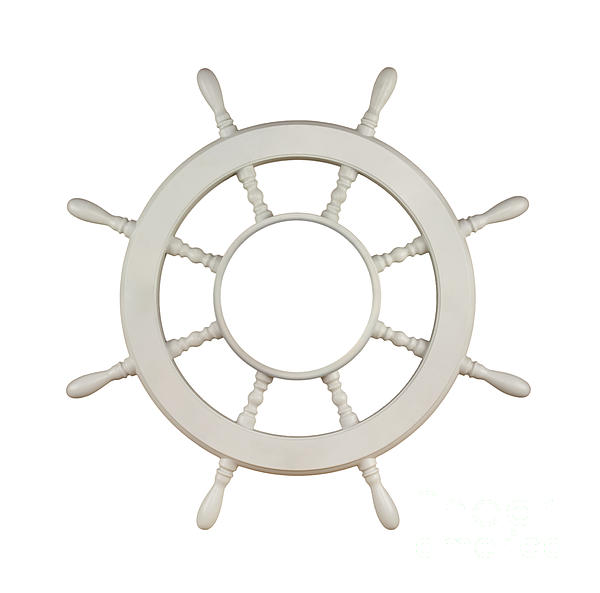 Wooden Sail Boat Wheel Print by Blink Images