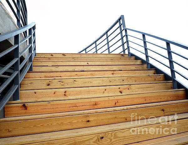 Wooden Staircase To The Sky Print by Yali Shi