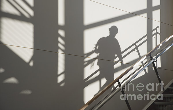 Workers Shadow In A Stairwell Print by Andersen Ross
