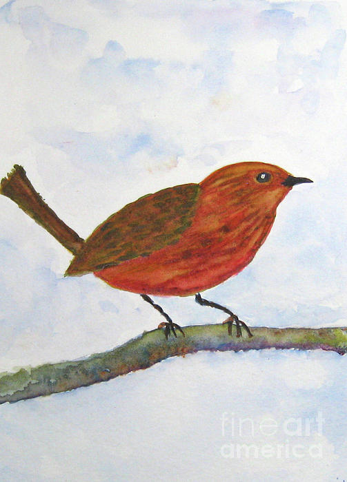 Working Wren Painting  - Working Wren Fine Art Print