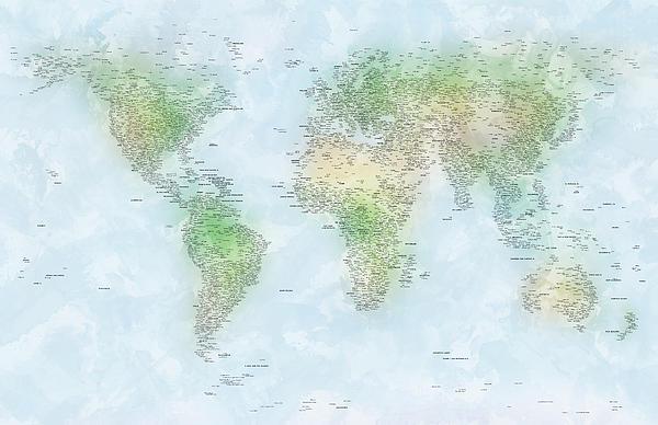 World Cities Map Print by Michael Tompsett