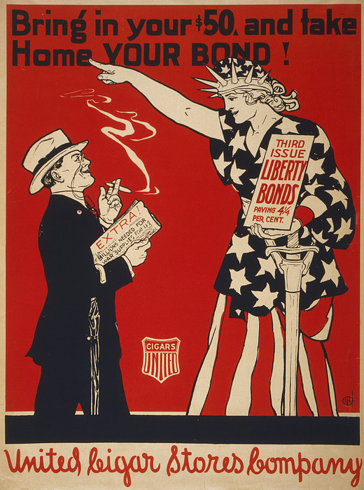 World War I, Poster Showing Liberty Print by Everett