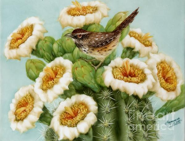 Wren And Saguaro Blossoms  Print by Summer Celeste