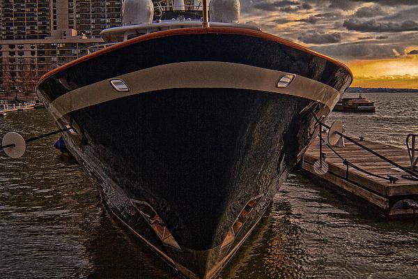 Yacht On The Sunset Print by Alex AG