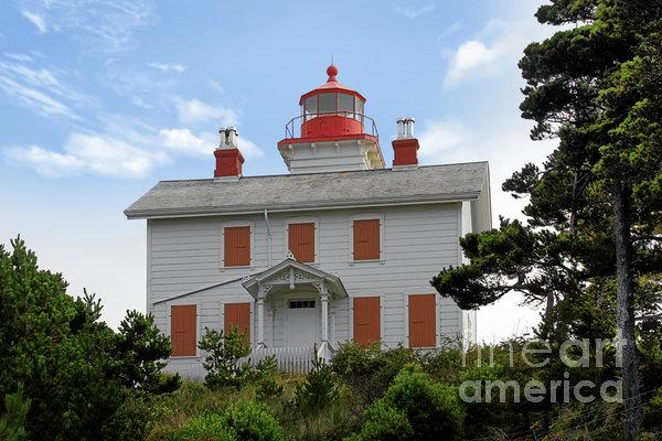 Yaquina Lighthouses - Yaquina Bay Lighthouse Oregon Print by Christine Till