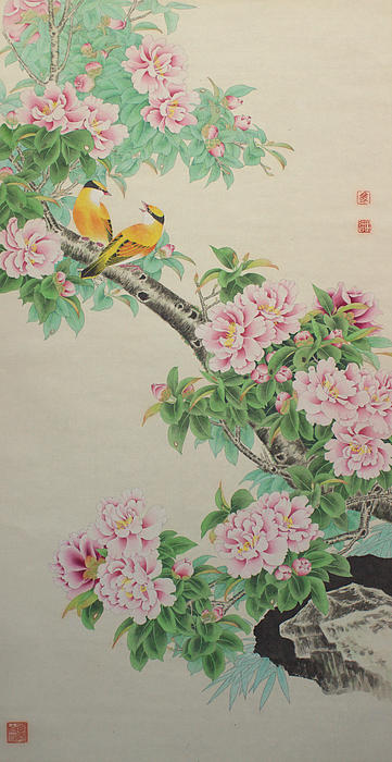 Mingda Ma - Yellow Birds on Peony Branch