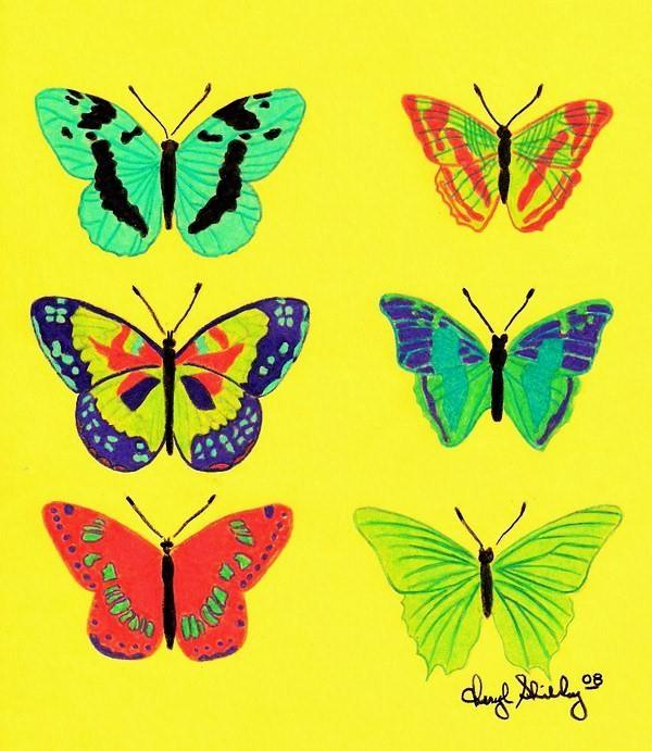 Yellow Butterfly Drawing Cheryl Shibley