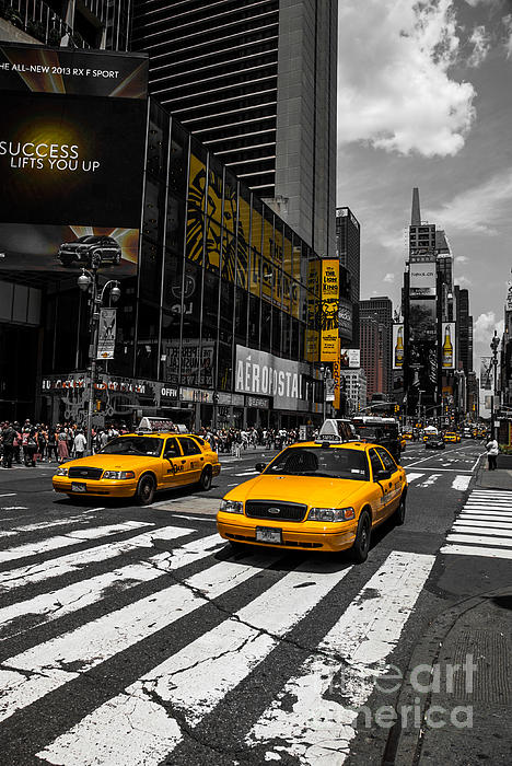 Yellow Cabs Cruisin On The Times Square  Print by Hannes Cmarits