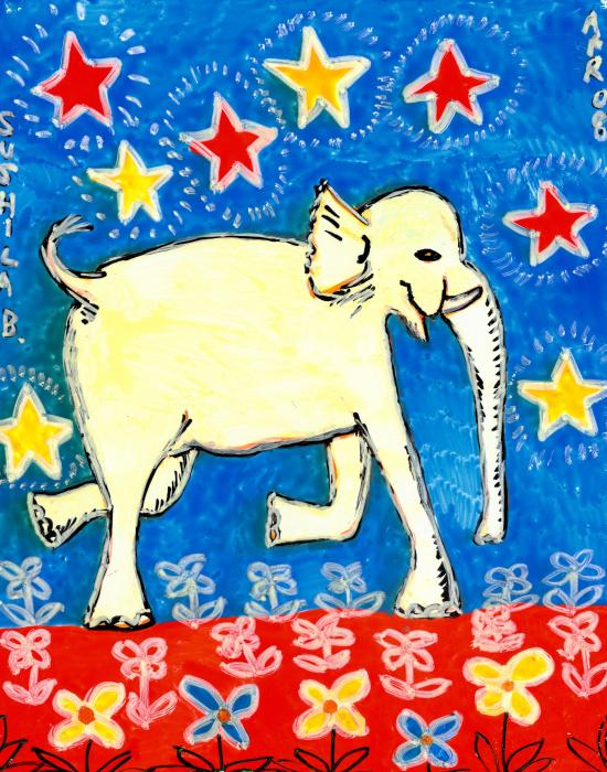 Yellow Elephant Facing Right Painting  - Yellow Elephant Facing Right Fine Art Print