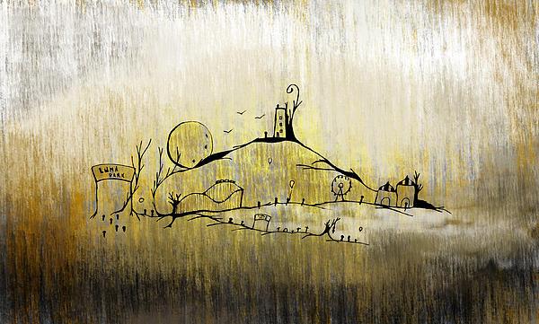Yellow Estrangement - Luna Park Print by Roberto Mansi