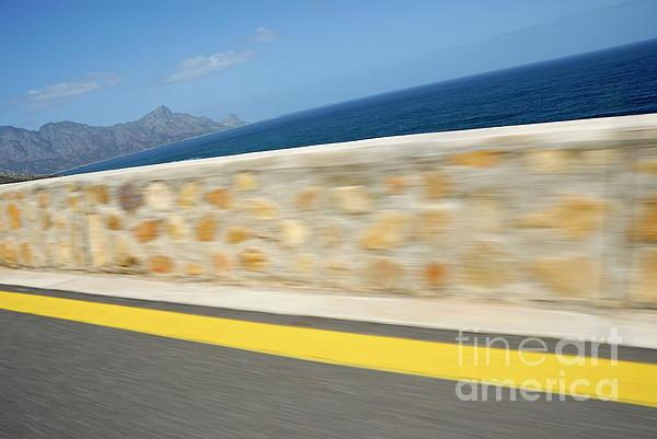 Yellow Line On A Coastal Road By Sea Print by Sami Sarkis
