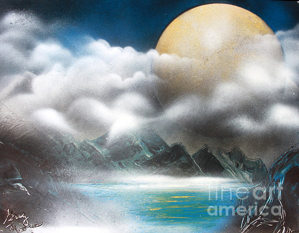 Yellow Moon Print by Greg Moores