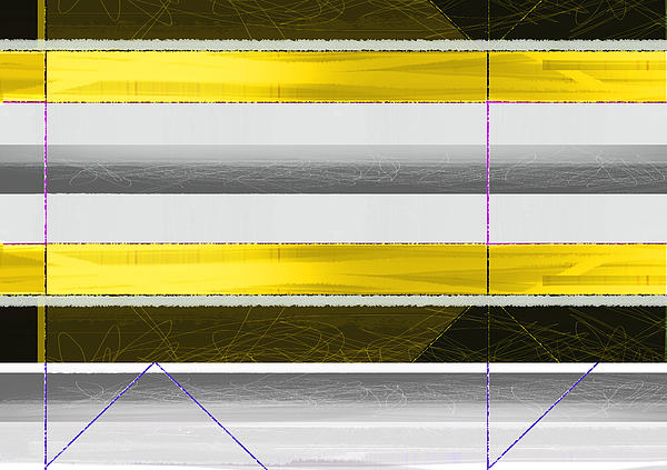 Yellow Stripes Print by Naxart Studio