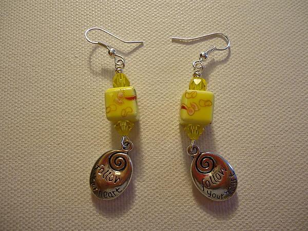 Yellow Swirl Follow Your Heart Earrings Print by Jenna Green