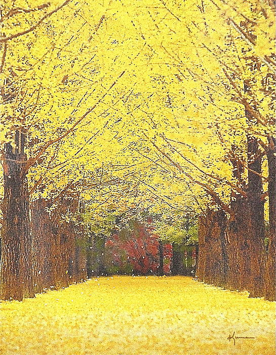 Yellow Trees Print by Kume Bryant