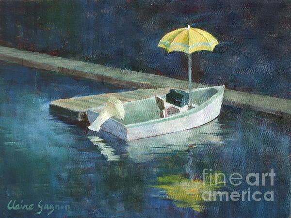 Yellow Umbrella Print by Claire Gagnon