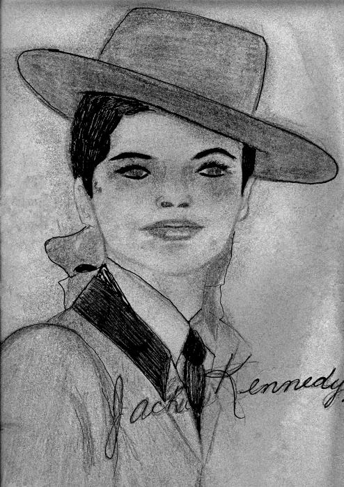 Young Jackie Kennedy Drawing  - Young Jackie Kennedy Fine Art Print