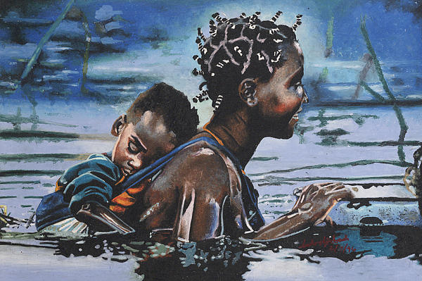 Young Mother And Child Print by Andre Ajibade