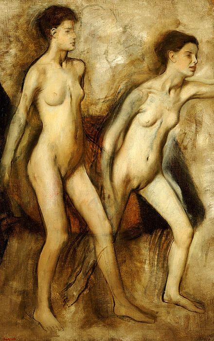 Young Spartan Girls Provoking The Boys Print by Edgar Degas
