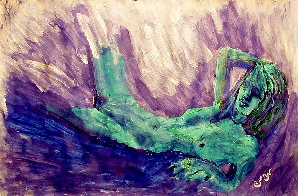 Young Statue Of Liberty Falling From Grace Female Figure Portrait Painting In Green Purple Blue Print by MendyZ M Zimmerman