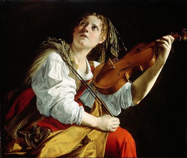 Young Woman With A Violin Print by Orazio Gentileschi