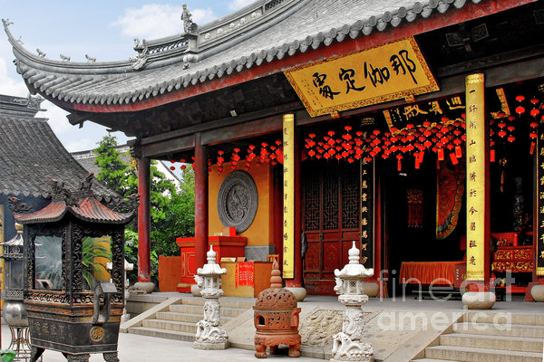 Yuanjin Chanyuan Temple - Zhu Jia Jiao Ancient Town Print by Christine Till