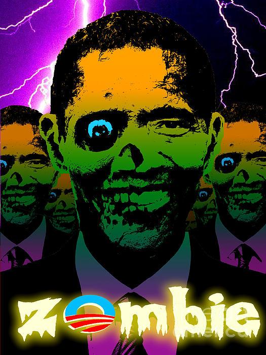 Zombie Obama Horde Lightning Storm Print by Robert Phelps
