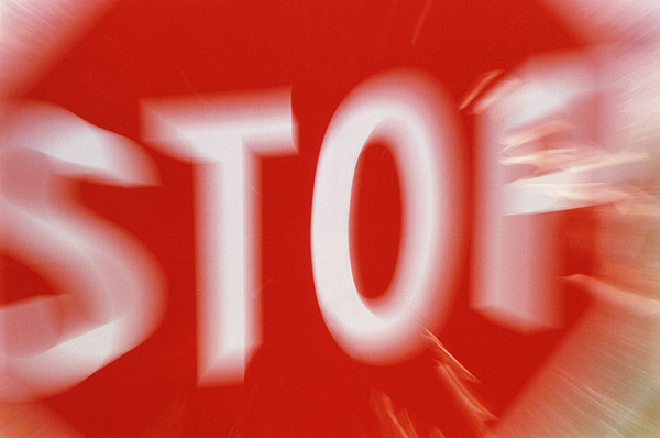 Zoom-effect Photo Of A Roadside Stop Sign Print by Tony Craddock