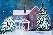 New England Snow Scene Painting Framed Prints -          Home     Login     Artwork     Galleries     Events     Blog     News     Contact     Subsc Framed Print by Donna Walsh