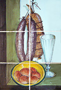 Sausages Posters -        Kitchen tiles art Salami Poster by Filippo B
