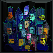Many Faces Posters -   067 - Pyramid Of Faces Poster by Irmgard Schoendorf Welch