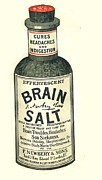 Humor Drawings Prints -  1890s Uk Brain Salt Headaches Humour Print by The Advertising Archives