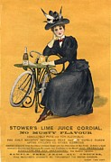 Cycling Drawings Framed Prints -  1890s Uk  Stowers Lime Juice Cordial Framed Print by The Advertising Archives