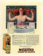 Twentieth Century Drawings Posters -  1917 1910s Usa Mulsified Shampoo Hair Poster by The Advertising Archives
